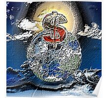 Dollar and globe Poster