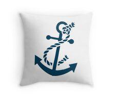 Navy Blue Nautical Boat Anchor Illustration Throw Pillow