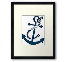 Navy Blue Nautical Boat Anchor Illustration Framed Print