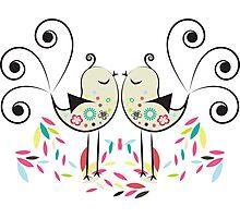 Cute Colorful Art Deco Love Birds Photographic Print