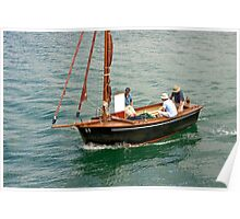 Wood Sailboat with Blood Red Sails - Golfe du Morbihan Poster