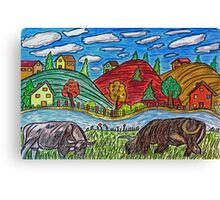 Cow Grazing Canvas Print