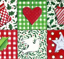 Patchwork Christmas Icons - bright and festive by lizblackdowding