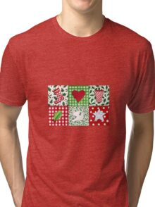Patchwork Christmas Icons - bright and festive Tri-blend T-Shirt