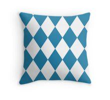 Blue and White Diamonds Throw Pillow