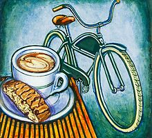 Green Electra Delivery Bicycle Coffee and biscotti by markhowardjones