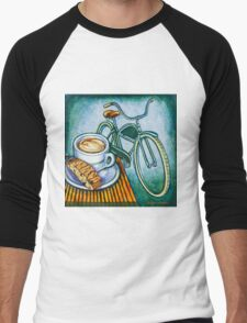 Green Electra Delivery Bicycle Coffee and biscotti Men's Baseball ¾ T-Shirt