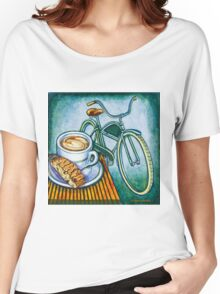 Green Electra Delivery Bicycle Coffee and biscotti Women's Relaxed Fit T-Shirt