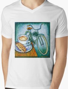 Green Electra Delivery Bicycle Coffee and biscotti Mens V-Neck T-Shirt