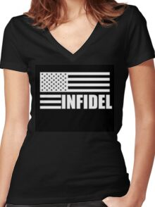 American Infidel (Black) Women's Fitted V-Neck T-Shirt