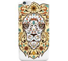 Colorful Lion Head Sugar Skull Illustration iPhone Case/Skin