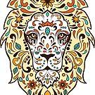 Colorful Lion Head Sugar Skull Illustration by artonwear