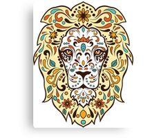 Colorful Lion Head Sugar Skull Illustration Canvas Print