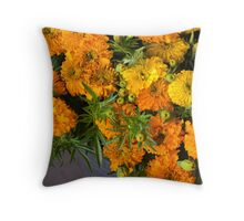 Marigolds at the Flower Market Throw Pillow