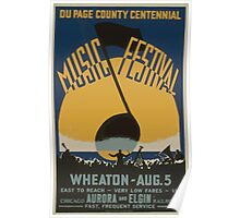 WPA United States Government Work Project Administration Poster 0507 Du Page County Centennial Music Festival Poster