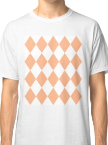 Peach and White Diamonds Classic T-Shirt