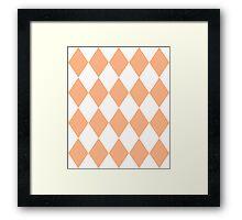 Peach and White Diamonds Framed Print