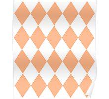 Peach and White Diamonds Poster