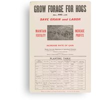 United States Department of Agriculture Poster 0058 Grow Forage for Hogs Save Grain and Labor Canvas Print