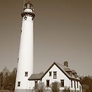 Lighthouse - Presque Isle, Michigan in Sepia by Frank Romeo