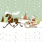 Retro Christmas With Santa And Rein Deer Illustration by artonwear