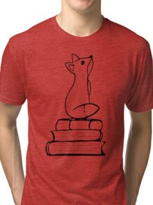 Fox on Books - With pages Tri-blend T-Shirt