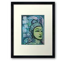 A calm tranquil Buddha in harmonious green, painting and mixed media Framed Print