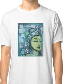 A calm tranquil Buddha in harmonious green, painting and mixed media Classic T-Shirt