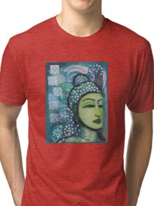 A calm tranquil Buddha in harmonious green, painting and mixed media Tri-blend T-Shirt