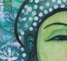 A calm tranquil Buddha in harmonious green, painting and mixed media Sticker
