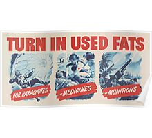 United States Department of Agriculture Poster 0136 Turn in Used Fats for Parachutes Medicines Munitions Poster