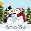 Snowman Family Joyeux Noel Christmas Card by Linda Allan