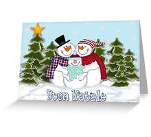Snowman Family Buon Natale Christmas Card Greeting Card