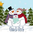 Snowman Family God Jul Christmas Card by Linda Allan