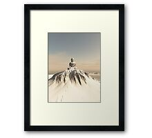Snow Covered Mountain Buddha Framed Print