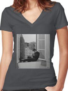 Chet Baker painting Women's Fitted V-Neck T-Shirt
