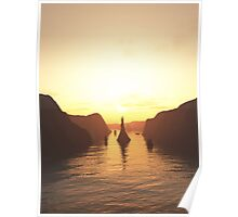Sailing Ships on the River at Sunset Poster