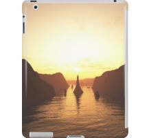 Sailing Ships on the River at Sunset iPad Case/Skin