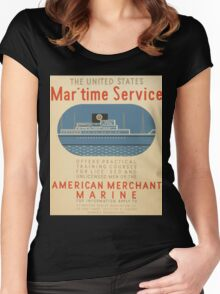 WPA United States Government Work Project Administration Poster 0935 Maritime Service American Merchant Marine Women's Fitted Scoop T-Shirt