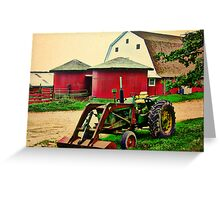 Twins and a Tractor HDR Greeting Card