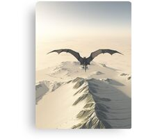 Grey Dragon Flight Over Snowy Mountains Canvas Print