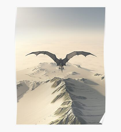 Grey Dragon Flight Over Snowy Mountains Poster
