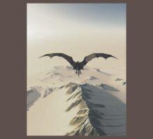 Grey Dragon Flight Over Snowy Mountains Baby Tee