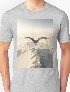 Grey Dragon Flight Over Snowy Mountains Unisex T-Shirt