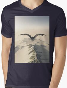 Grey Dragon Flight Over Snowy Mountains Mens V-Neck T-Shirt