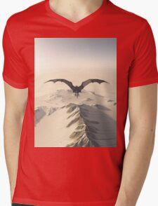 Grey Dragon Flight Over Snowy Mountains Mens V-Neck T-Shirt