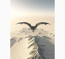 Grey Dragon Flight Over Snowy Mountains T-Shirt