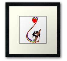 Messy Penguin Painting with Rainbow Framed Print