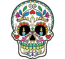 Colorful Retro Floral Sugar Skull Photographic Print