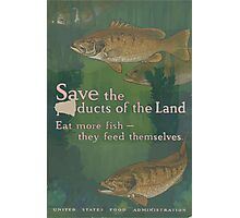 United States Department of Agriculture Poster 0108 Save the Products of the Land Fish Feed Themselves Photographic Print